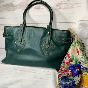 VINTAGE COLE HAAN TRINITY LEATHER SATCHEL GREEN